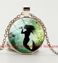 Vintage Marine Mermaid Photo Cabochon Glass Bronze/Silver Color Chain Pendant Necklace for women(China)