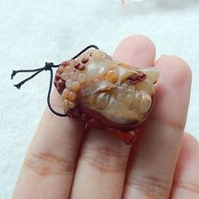 Natural Stone Carved Buddha Head Red River jasper Necklace Pendant 30x24x10mm 11.7g semiprecious stone fashion jewelry accessory(China)