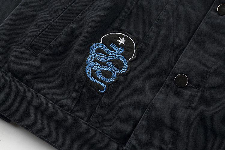 Embroidery Rose Skull Denim Jackets 6