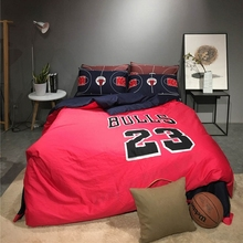 Hot 4 or 5pcs  the US Basketball Home Comforter Bedding Sets Duvet Doona Covers Bed Sheet Pillow Cases Full Queen Bed, Red/white