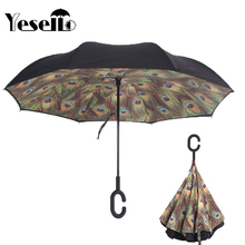 Yesello Green Peacock Feathers Double Layer UV Proof and Windproof Inverted Umbrella With C-Shaped Handle for Car Outdoor