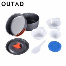 OUTAD Worldwide 8pcs Backpacking Cooking Picnic Outdoor Camping Hiking Cookware Bowl Pot Pan Set camping tools
