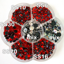 ss6 ss10 ss16 ss20 ss30 DMC Hot Fix Rhinestone Approx 3000pcs/Lot flower shape box Clear Crystal AB Siam Red Hotfix Stone Y3133(China)