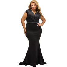 Plus Size Casual Women Dress 2017 Summer Rhinestone Front Bodice Scalloped Neckline Dress Autumn Slim Maxi Sexy Dress Big Yards(China)