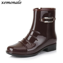 xemonale Man's Sequined Solid Mid-Calf Rain Boots Men High Quality Rubber Boots Men Slip On Waterproof Non-slip Footwear(China)