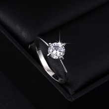 Love Forever Wedding Ring Silver Plated Gem Stone Full Sizes Wholesale Women Rings