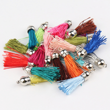 100cs/lot Mixed Color Handmade Silk/Satin Leather Tassel Charms Cell Mobile Phone Straps Accessories Silver Top/Gold Top Choose(China)