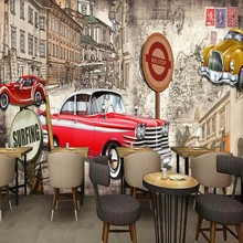 photo wallpaper Europe the United States retro red classic car bar coffee shop background wall mural wallpaper(China)