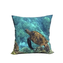 RUBIHOME Creative Decorative Cushion Cover Throw Pillowcase Polyester Plush Fabric Home Decor Seas Animal Turtle Fish Design