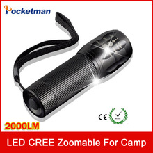 2000Lumens LED Flashlight Camping Hiking Fishing Hunting Cycling Highlighted 1 Pc Mini Torch Laser Lamp Light Zoomable zk80(China)