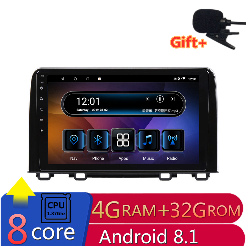 "9"" 4G RAM 2.5D IPS 8 CORE Android 8.1 Car DVD Multimedia Player GPS For HONDA CRV 2017 2018 audio stereo car radio navigation"