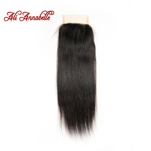 ALI ANNABELLE HAIR Brazilian Straight Lace Closure Natural Color 4*4 Medium Brown 100% Remy Hair Closure Free Part 10 to 22 inch(China)