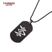 Hot Game Watch Dogs Logo Pendant Necklaces Vintage Stainless Steel Necklace Men Women Gifts  Anime Jewelry Accessories Souvenirs