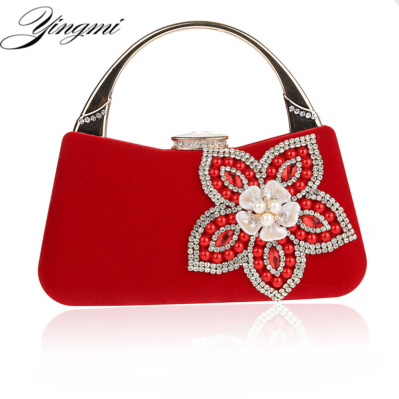 YINGMI Small Purse Bag Shell Design Flower Shell Accessory Women Beaded Lady Day Clutches Purse Evening Bag For Wedding<br>