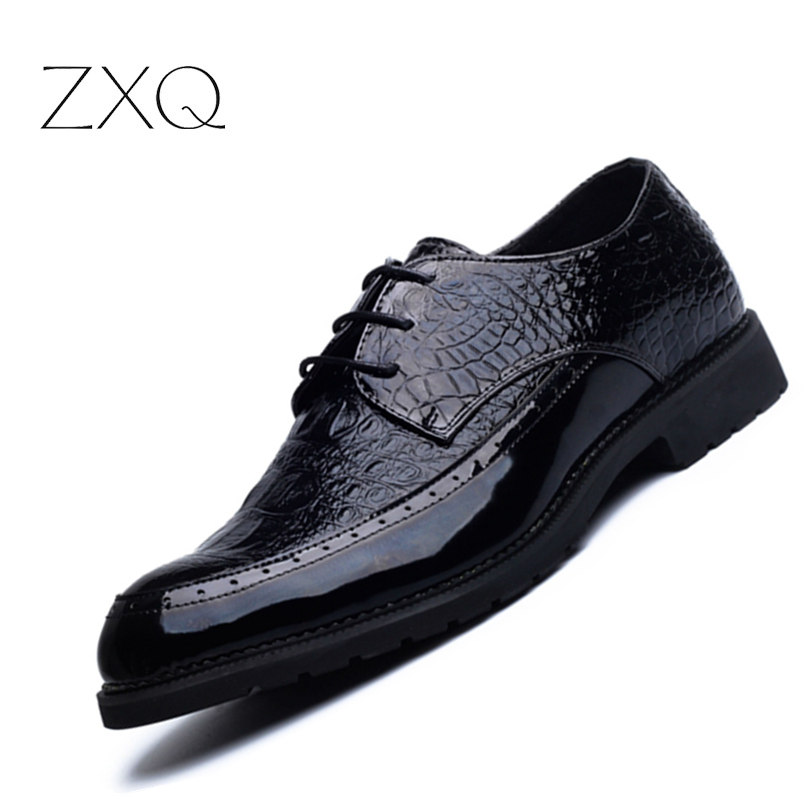 2017 Spring New Mens Lace Up Crocodile Pattern Casual Shoes Fashion Embossed Mens Shoes Leather Oxford Men Shoes<br>