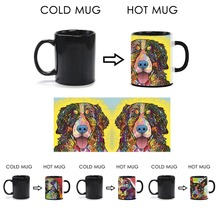 Customized Cute Coffee Mugs Bernese Mountain Dog Heat Activated Mugs Colorful Animal Color Change Ceramic Magic Mugs Travel Mug