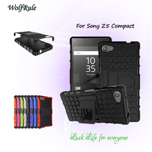 WolfRule Case For Sony Z5 Compact Cover Soft Rubber & Hybrid Plastic Cover For Sony Xperia Z5 Mini Z5 Compact E5803 Stand Case ^