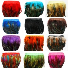 10M/lot 10-15cm Multicolor Chicken Rooster Tail Feather Trim Strip for Dress Skirt Party Clothing Decoration DIY Craft Making(China)