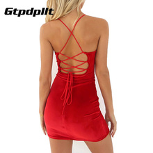 Gtpdpllt 2017 Red Velvet Dress Women Sleeveless Summer O Neck Lace Up Backless Dress Sexy Bodycon Club Party Dresses Vestidos(China)