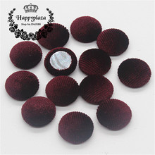 15mm 50pcs Dark Red Korean Velvet Fabric Covered Round Home Sewing Buttons Flatback DIY Scrapbook Craft