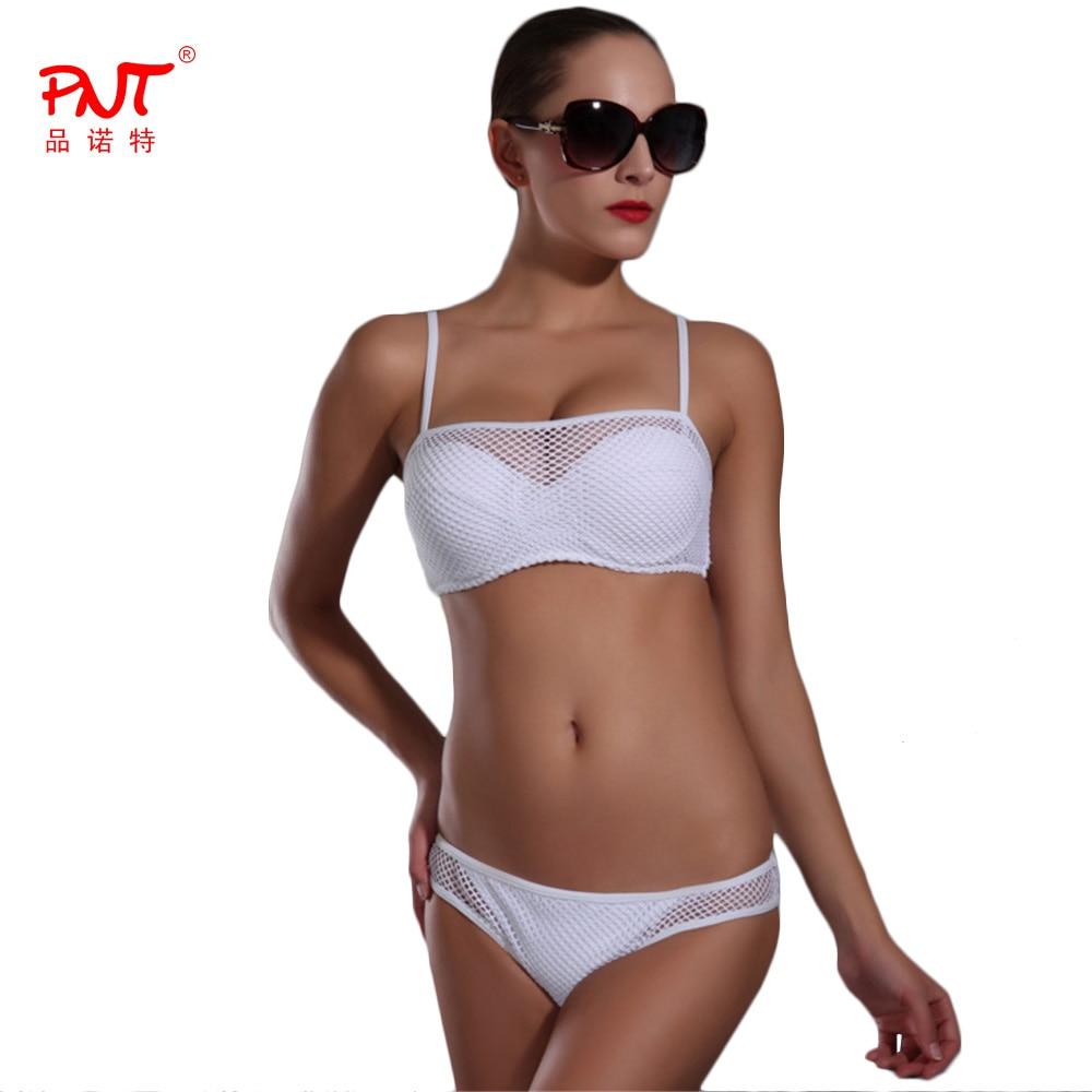 PNT189 Sexy Bikini 2017 Push Up White Black Transparent Mesh Fabric Biquinis Womens Swimsuit Swimwear Low Waist Bathing Suit <br><br>Aliexpress