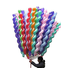 100pcs Screw Twisted Latex Balloon Spiral Thickening Long Balloon Party Supplies Strip Shape Balloon Inflatable Toys Mix Color(China)