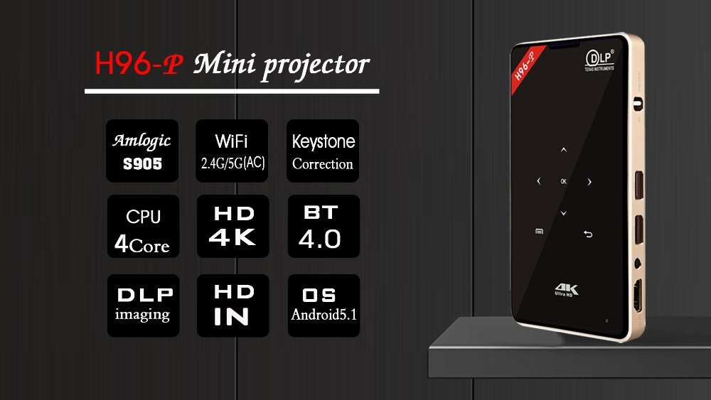 02 H96-P Amlogic S905 4K DLP project double wifi Bluetooth4.0 touch button keystone correction hd in OS5.1
