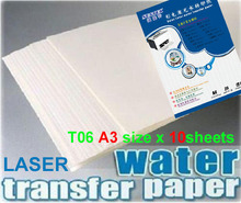 A3 Clear laser papel de transferencia del agua x10pcs water slide decal paper camisetas water transfer paper ceramic decals(China)
