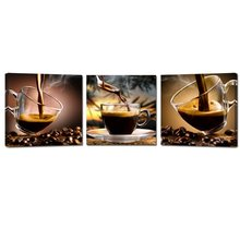 2017 Limited Rushed Modern Unframed Coffee Canvas Wall Art Painting Cup Triptych Bean Photo Print 3 Pieces Artwork(China)