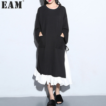 [EAM] 2017 Spring Fashion Trend New Korean Cloose Vent Split Joint Long Sleeve O-Neck Black Dress Woman Y01601