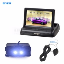 DIYKIT 4.3 Inch Car Reversing Camera Kit Back Up Car Monitor LCD Display Parking Radar Sensor 2 in 1 Car Camera Parking System(China)