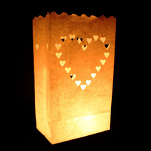 20pcs/set Heart light Holder Luminaria Paper Lantern Candle Bag For Party Home Outdoor Wedding/Boda/Christmas Decoration