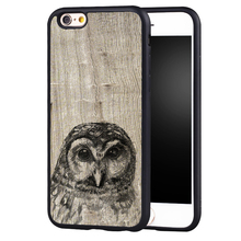 Owl Sketch Tan Wood Printed Soft TPU Skin Cell Phone Cases For iPhone 6 6S Plus 7 7 Plus 5 5S 5C SE 4 4S Back Cover Shell