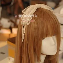Sweet lolita princess hairpin Handmade lace headband DIY large bow hair headdress hairpin bell Lolita witch Department GSH002(China)