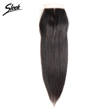 Sleek Brazilian Straight Hair 4x4 Lace Closure 100% Remy Human Hair Natural Color Middle Part Top Closures 8-18 Inch(China)