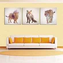 Lion and Tiger Pictures With Framed Modern Canvas Arts For Living Room Paintings Wall Pictures Tableau Peinture Sur Toile Gifts