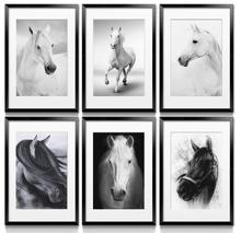 Realism Print Canvas Animal Oil Painting (No Frame) Black And White Horses Modern Giclee Wall Art Picture Poster For Home Decor