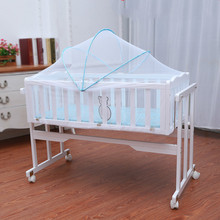 Baby crib cradle bed bed real wood and rolling roller for children(China)