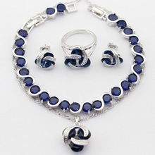Charms 925 Sterling Silver Women Jewelry Sets Blue Cubic Zircon Necklace Pendant Drop Earrings Rings Bracelet(China)
