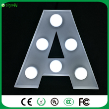 "Customize LED bulb letter ""A"" white car painted surface 20cm high for home decoration lighting"