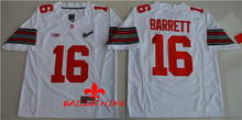 Free Shipping Nike 2017 Ohio State Buckeyes J.T. Barrett 16 Diamond Quest College Footballly Boxing Jersey - White(China)