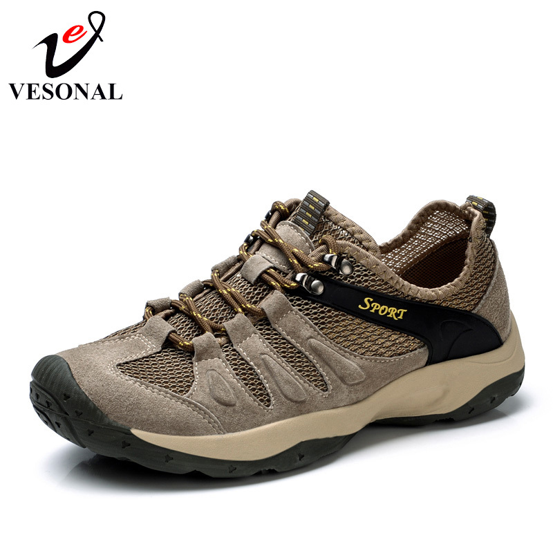 VESONAL Brand Casual Cow Suede Mesh Shoes For Men Sneakers Male Breathable Light Walking Casual Quality Comfortable Footwear<br>