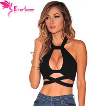 Dear Lover Crop Tops Black Crisscross Cut Out Halter Tank Bustier Tanks Sleeveless Vest Regata Feminina Women's Camisole LC25833