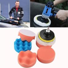 New Arrival 6Pcs 3inch Waffle Waxing Buffing Polishing Sponge Pads Car Polisher Drill Adapter se13(China)