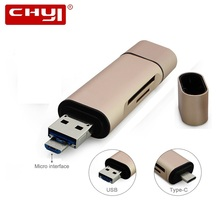 CHYI 3-in-1 OTG Type-C USB 3.0 Card Reader Rose Gold Cardreader A Micro TF SD Memory Card  All in 1 for Smart Phone PC