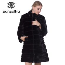 SARSALLYA 2016 new mink coats women real fur coat natural fur coats woman's winter jackets fox fur coat fox fur vest(China)