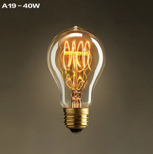 Vintage World Edison light Bulb A19 1900 Antiquity 40W 110V 220V 240V Tube Filament Tungsten Home Decor Free Shipping(China)