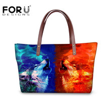 FORUDESIGNS Animal Wolf Women Handbags Large Capacity Messenger Bag for Ladies Brand Designer Totes Cross-body Bag Bolsos Mujer(China)