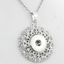Boom Life necklace free chain Bohemian crystal 18mm snap button pendant watchs women button necklace accessories