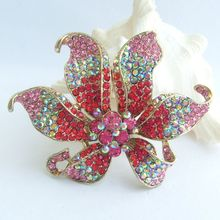 3.74 Inch Gold-tone Multicolor Rhinestone Crystal Orchid Flower Brooch Pendant EE03903C1